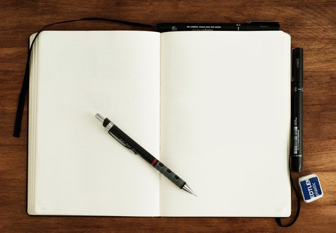 Blank notebook with mechanical pencil